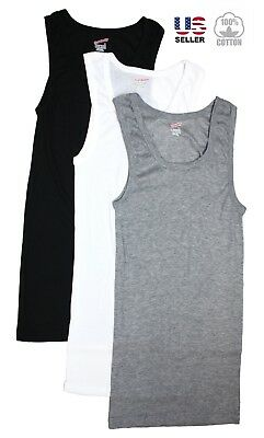 Lots 3 Mens 100% Cotton Tank Top A-Shirt Wife Beater Undershirt Ribbed New