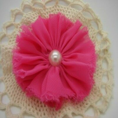 Hot Pink Chiffon Flower with Pearl Centre x 1 RNB