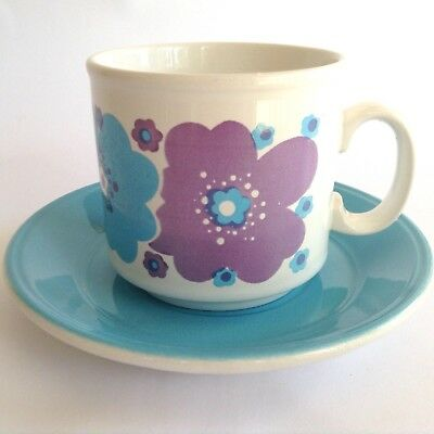!960s 1970s Retro Vintage Staffordshire Potteries Cup & Saucer Duo Blue Pottery