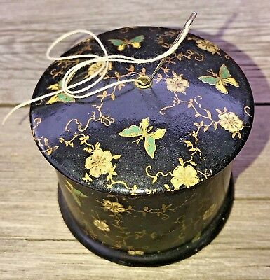 Antique Thread Holder Eastern European Hand Painted Lacquered Wood Brass Eyelet