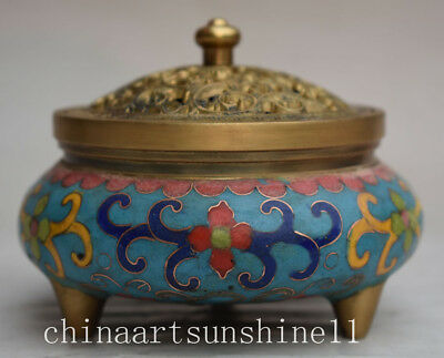 Exquisite Chinese Collection Old Cloisonne Incense Burner Home Decoration