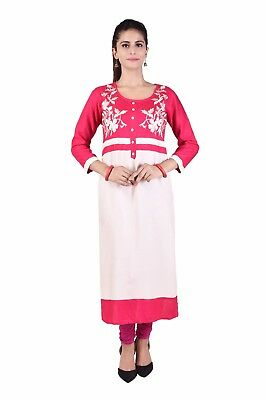 Indian Bollywood Women Embroidery Pink  Cotton straight long Kurta/Kurti