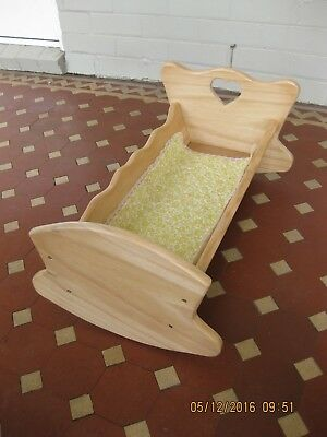 dolls cradle wooden natural colour lacquered