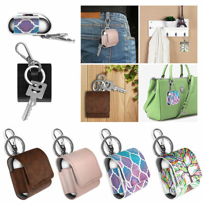 AirPods Earphone Case Portable Protective Carrying Cover PU Leather Bag Keychain