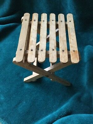 Small Vintage   Folding   Slatted   Wooden  Stool. Fishing.  Child.  Plant Stand