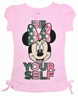 Disney Minnie Mouse Be Yourself Glitter Side-Tie Girls T-Shirt Pink
