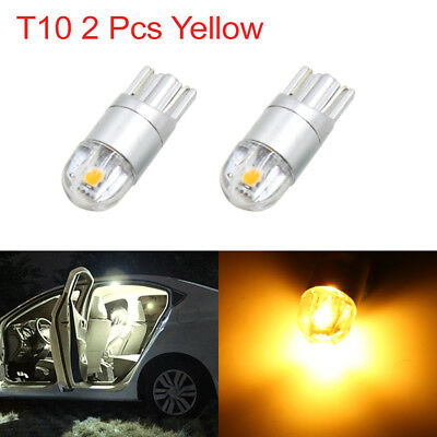2pcs T10 W5W 2 3030-SMD-LED Yellow Car Light Bulbs Interior Panel Wedge Lamp 194