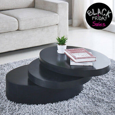 Round Black Coffee Table Rotating Contemporary 3 Layers Living Room Furniture