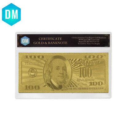 24K Gold Banknote US 100 Dollars 99.9% Gold Foil Bill Dollar Collection Banknote