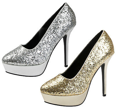 Ladies Glitter Platform Party Shoes High Heel Court Metallic Dress Shoes Size