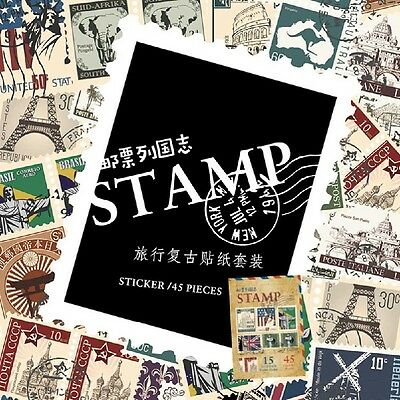 45pcs Paper Stamp Sticker Diary Cards Scrapbook Craft Labeling Paster Sch CC33