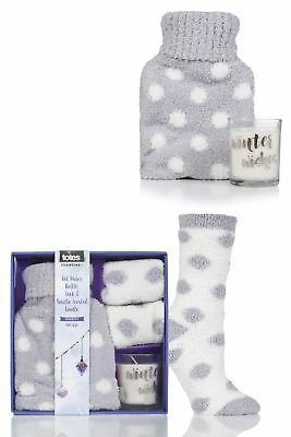 Ladies 1 Pair Totes Super Soft Bed Socks with Hot Water Bottle and Candle Gift S