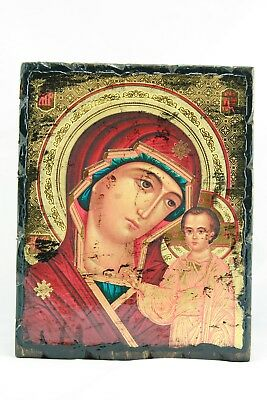 Old Virgin Mary Mother Of Jesus Christ Lady Of Kazan Russian Icon Казанская