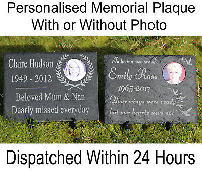 Personalised Natural Slate Memorial Plaque With Stand and photo Exterior