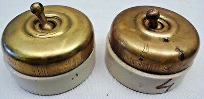 VINTAGE ELECTRIC SWITCHES CERAMIC BRASS 5AMP 250V 2 Pc INDIA COLLECTIBLES OLD #4