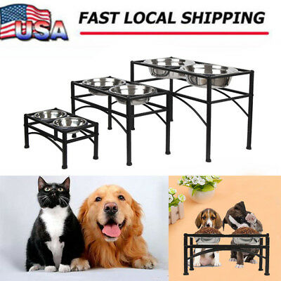 US Double Bowl Dog Cat Feeder Elevated Raised Stand Feeding Food Water Pet Dish