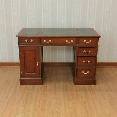 Solid Mahogany Computer Desk with Green Leather Antique Reproduction DSK019G