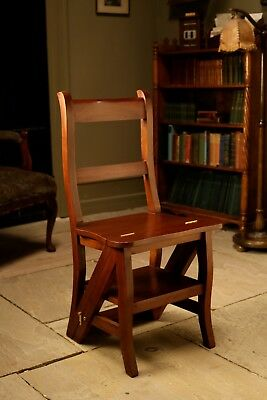 Solid Mahogany 'Metamorphic' Office / Library Step Chair Antique Repro OCS023