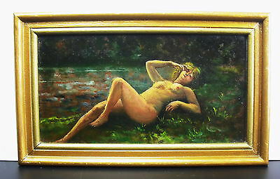 Desnudo mujer en l'herbe aceite la cuadro Paint Naked on the hierba 23 cm