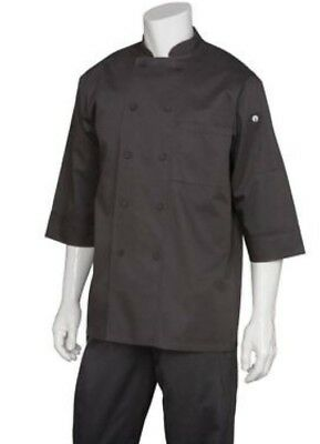New Chef Works sz S Mens Essential 3/4 Sleeve Chef Coat JLCL Black NWT