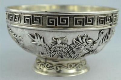 China collection handmade Tibet silver dragon and phoenix bowls