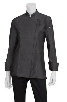 New Chef Works sz L Urban Collection Black Denim Chef Coat Women's EXWDZ002 NWT