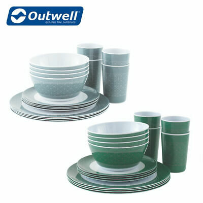 Outwell Blossom Melamine 4 Person Family Picnic Camping Set Range Of Colours