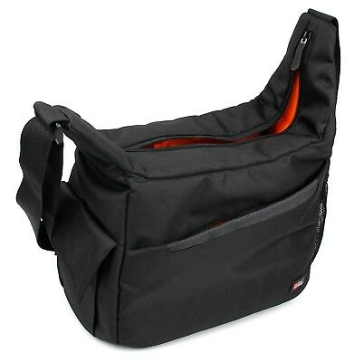 Black & Orange Durable Shoulder 'Sling' Bag for the SENDOW 4K HD - by DURAGADGET