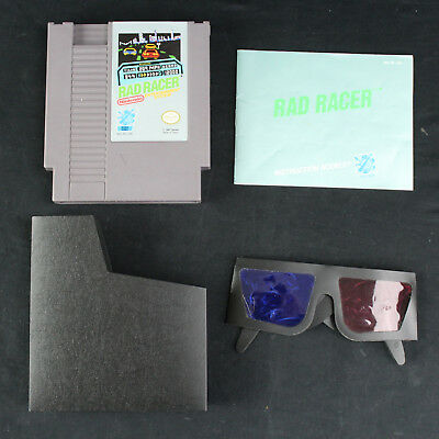 Rad Racer Nintendo NES Game Cartridge w/Instruction Manual & 3D Glasses Free S&H