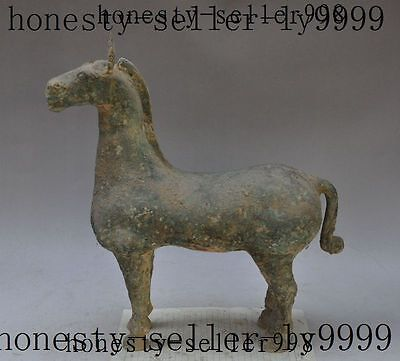 "16""old china chinese fengshui bronze animal steed horse success lucky zun statue"