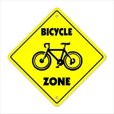 """Bicycle Crossing Sign Zone Xing 14"""" Tall bike ride mountain road tire pump tube"""