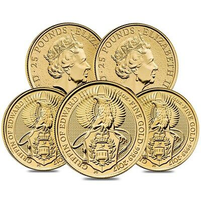 Lot of 5 - 2017 Great Britain 1/4 oz Gold Queen's Beasts (Griffin) Coin .9999 BU