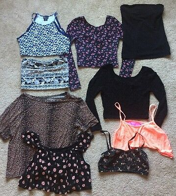 FOREVER 21 H&M Wet Seal Lot Of 9 Crop Tops Shirts Blouse Shirts Size Small