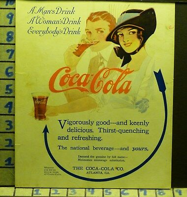 1914 Coca Cola Coke Arrow Woman Drink Jerk Beverage Soda Pop Vintage Ad  V09