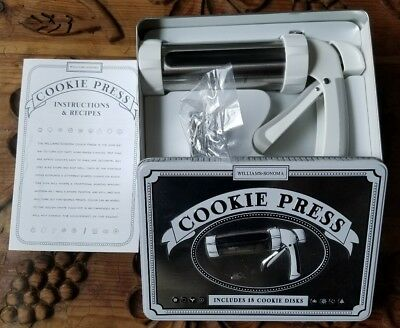 Williams-Sonoma Cookie Press 18 Cookie Disks Metal Case Instructions & Recipes