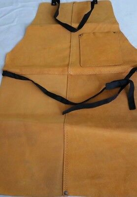 Double Stitched Split Leather Welding Apron With Pocket &  Tie down Strap