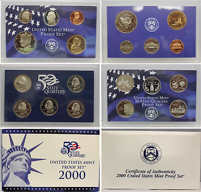 2000 Proof set CN-Clad Kennedy Sacagawea dollar State quarters - (OGP) 10 coins