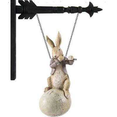 **NEW** Bunny Playing Flute on Egg Arrow Replacement Sign by K&K Interiors