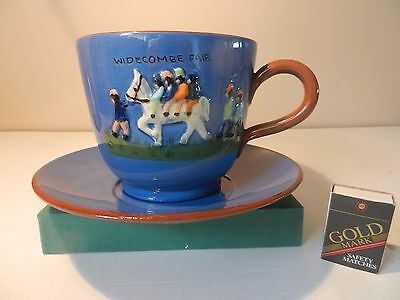 Very BIG cup and saucer with Widecombe fair characters Watcombe
