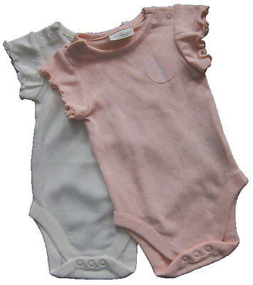 New Baby Girls Pink & White Vests Age 3-6 Months