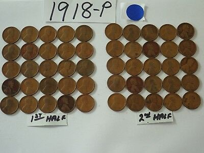 1918-P Solid Date Pennies=Roll 50 Lincoln Wheat Cents