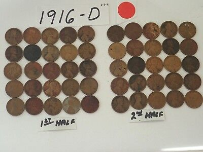 1916-D Solid Date Pennies=Roll 50 Lincoln Wheat Cents