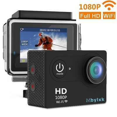 Mbylxk Action Camera WiFi 1080P Sports Cam Full HD 30 M Waterproof 170 ° Wide