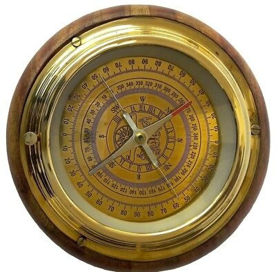 Kartique Nautical Compass in Wood n Brass in Gold Finish. Free Delivery