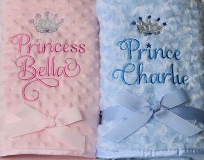 Personalised Prince Princess Luxury Rose fur / Dimpled / Fleece Baby Blanket