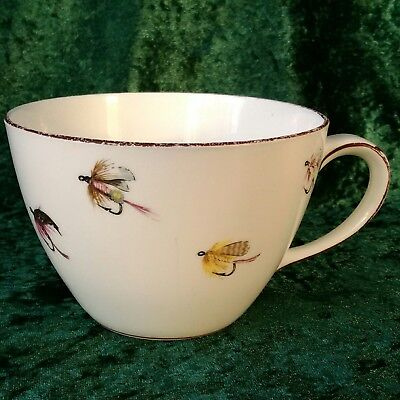 Vintage Crown Staffordshire Fishing Fly Large Breakfast Cup 30s-50s