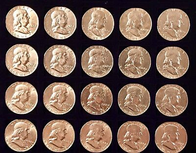 1963 D Benjamin Franklin Half Dollars (lot of 20) XF to AU