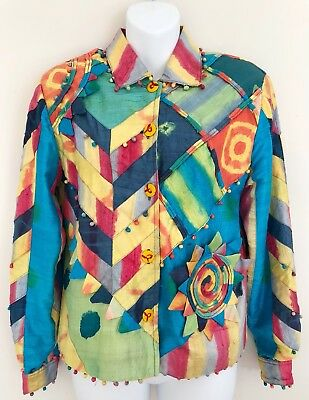 Vintage SANDY STARKMAN Women 100% Silk Blazer Jacket Size S Multicolor Button Up