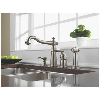 Delta Victorian 156-SSWF Stainless Steel Kitchen Faucet w/Side Spray & Soap Disp