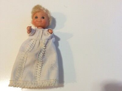 VTG 1973 Mattel Sunshine Family Baby Sweets Doll in White Christening Gown